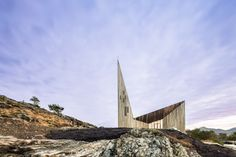 Main facade of Knarvik Church / Knarvik Kirke, Norway designed by Reiulf Ramstad Arkitekter photographed by Hundven-Clements Photography.