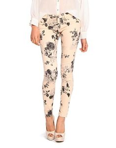 cream floral skinny jeans