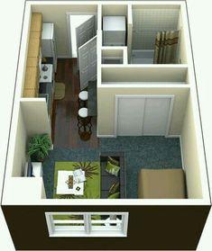 Apartment studio layout floor plans spaces 45 Ideas for 2019 Studio Apartment Floor Plans, Studio Apartment Layout, Studio Layout, Apartment Design, Studio Floor Plans, Small Apartment Plans, 400 Sq Ft House, Deco Studio, Small House Design