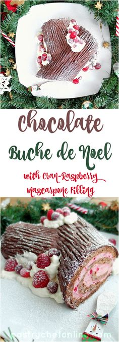 This chocolate buche de noel or Yule Log is a real show-stopper. It's also not very hard to make. With step-by-step process photos and some tips and tricks I share in the recipe, you too can serve this centerpiece dessert at your holiday table! Chocolate Yule Log Recipe, Chocolate Roll Cake, Gluten Free Chocolate, Holiday Cakes, Christmas Desserts, Christmas Treats, Holiday Treats, Christmas Cakes, Holiday Baking