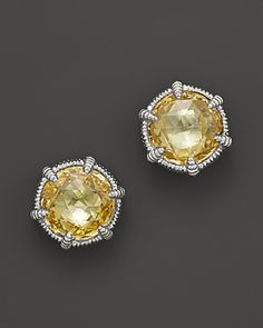Judith Ripka Eclipse Stud Earrings with Canary Crystal | Bloomingdale's