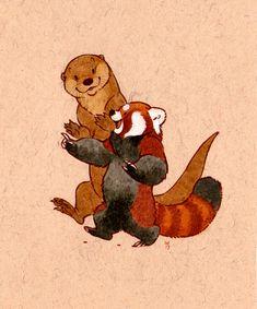 Cute Animal Drawings, Animal Sketches, Cartoon Drawings, Red Panda Cute, Little Panda, Otter Tattoo, Otters Cute, Panda Art, Creature Design