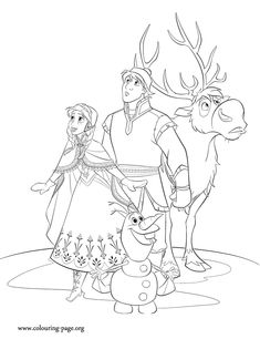 Anna, Kristoff, Sven and Olaf go on a journey to bring Elsa back home. Have fun with this amazing Disney Frozen movie coloring page!