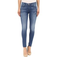 Hudson Nico Mid-Rise Ankle Skinny with Distress in Wipeout (Wipeout)... ($158) ❤ liked on Polyvore featuring jeans, blue, distressed jeans, skinny fit jeans, ripped skinny jeans, skinny ankle jeans and destroyed skinny jeans