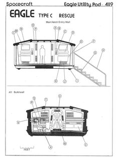 Space 1999 Eagle Blueprints by Keith Young. Detailed and carefully researched. This schematic shows Eagle pod interior as a cross section.