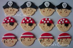 Fondant Cupcake Toppers Pirate by CrystalsCAKERY on Etsy