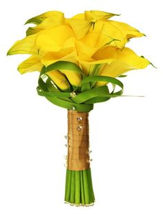 Yellow Calla Lily wedding bouquet with lily grass looped detail around base.
