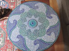 Wave Mandala Mosaic Tabletop by KSPMosaics on Etsy