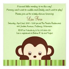 Adorable monkey themed invitations for a baby boy shower. Customize any invitation for free! Each monkey baby shower invitation includes a white.
