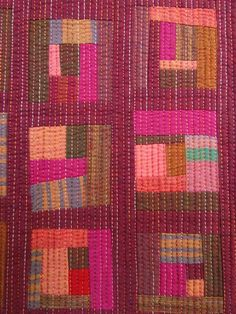 hand quilting with variegated thread #log cabin