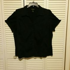 Lane Bryant Dress Shirt Good condition black dress shirt. No rips no stains has a elastic bunch in the back so it stretches great with slacks or jeans. Lane Bryant Tops Button Down Shirts