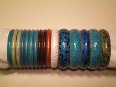 Matisse bangles.  The first three on the left side have the original price tags. $2.00 each.