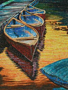 China Boat and River Hand-Cut Crystal Art Mosaic Find details about China Crystal Mosaic, Art Mosaic from Boat and River Hand-Cut Crystal Art Mosaic - Foshan Connfly Decoration Materials Co. Mosaic Tile Art, Mosaic Artwork, Mosaic Diy, Mosaic Crafts, Mosaic Projects, Mosaic Glass, Glass Art, Stained Glass, Mosaics
