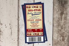 All Star Themed Baby Shower Invitation - All Sports Ticket - JPG file - print yourself on Etsy, $7.65