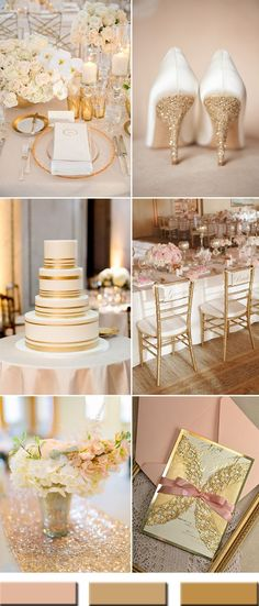 We all know Amazing Wedding design is really suitable for our Wedding. You can learn from our article (Trendy Gold Wedding Color Combos Brimming An Elegant and Luxurious Outlook) and get some ideas for your Wedding design. Gold Wedding Colors, Gold Wedding Theme, Gold Wedding Decorations, Wedding Color Schemes, Wedding Themes, Wedding Designs, Our Wedding, Dream Wedding, Wedding Cakes