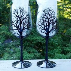 Spooky Halloween black tree silhouette hand by GlassesbyJoAnne, $44.00
