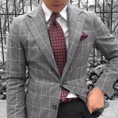 Grey Window Pane Flannel Jacket.