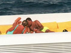 Diana and Dodi share an intimate moment on board his yacht