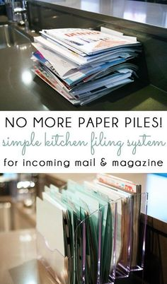 NO MORE PAPER PILES! Manage your incoming mail, kids school papers, catalogs and magazines with a simple kitchen counter filing system! organization {organizing with style} Managing Kitchen Paper Piles with a Simple Filing System Organization Station, Clutter Organization, Home Office Organization, Organizing Ideas For Office, Computer Desk Organization, Filing Cabinet Organization, Project Life Organization, Countertop Organization, Organization Ideas