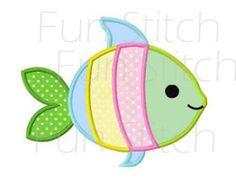 Pescado chica apliques patrón digital de diseño de por WendysStitch