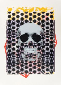 """""""Skull"""" by Ben Dodge. Screenprint on Paper, Subject: Abstract and non-figurative, Urban and Pop style, From a limited edition of 30, Signed and numbered on the front, This artwork is sold unframed, Size: 50 x 70 cm (unframed)  /  39 x 55 cm (actual image size), Materials: Printed on 300gsm Canaletto Velino using water based inks"""