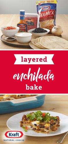 Layered Enchilada Bake – Layers upon layers of delicious Mexican-style flavors make this dinnertime dish so special. Learn how easy it can be to serve this recipe on your dinner table today! Mexican Dishes, Mexican Food Recipes, New Recipes, Crockpot Recipes, Dinner Recipes, Cooking Recipes, Favorite Recipes, Healthy Recipes, Enchilada Bake