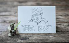 Yoda Birthday Card, dad yoda best, happy birthday day, star wars birthday day card