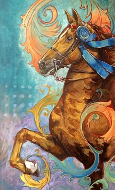 Blue Ribbon Saddlebred. 14 x 20 Oil on board A very fun and imaginative portrait of a winning saddlebred. I use bright colors and various patterns to create this whimsical portrait.