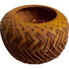 Rare Antique Basket Intricate Pattern