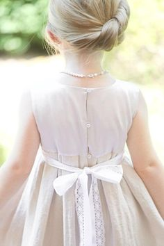 Beige girls dress D8 flower girl white stone silk linen decorated with cotton lace/hmet/eco friendly/rusteam / team madcap/etsy lush. $71.00, via Etsy.