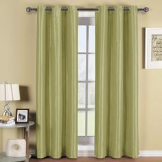Soho Grommet Thermal Blackout Green Window Curtain Panel.  Soho Grommet Thermal Blackout Gold Window Treatments Curtain Panels with Triple-Pass foam back layer to save on home energy cost. Blocks over 99% of light than ordinary curtains to saves on home heating and cooling costs.