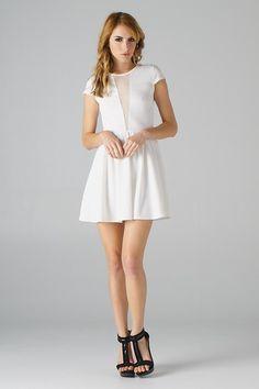 Mesh Inset Embossed Scuba Dress