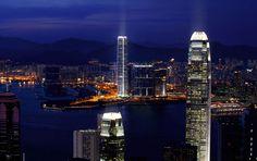 Hong Kong Two International Finance Centre  foreground, International Commerce Centre / Ritz Carlton, background