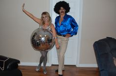 DIY Halloween costume disco ball and 70's disco dancer. Disco ball was semi-easy to make but so worth it!
