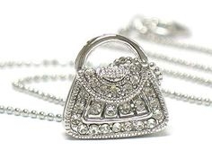 images of handbags and jewelry | Small Crystal Handbag Purse Pendant Necklace Fashion Jewelry