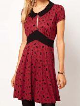 Wine Red Short Sleeve Rabbits Print Pleated Dress