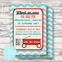 Introducing the Vintage Little Red Wagon printable party or shower photo invitation by Bee and Daisy! Looking for other Red Wagon themed items or our