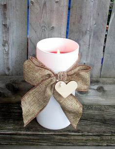 Burlap Wedding / Wedding Candle Holder / by CarolesWeddingWhimsy,  (1) Rustic Wedding Pillar Cande Holder / Rustic Wedding Centerpiece /  This item has a wood tag shaped like a heart  to Monogram with Initial or Wedding Table Number - You can find them here https://www.etsy.com/listing/198287359/burlap-wedding-wedding-candle-holder