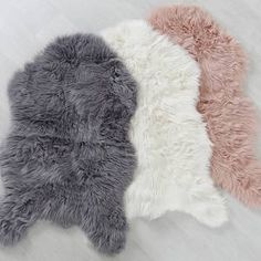 Acrylic/Polyester 100 x Available in: Natural, Pink and Grey Shake and Vacuum regularly. Do not pull loose fibres. Blot clean with an undyed cloth. Do not use near naked flame or source of ignition. Grey Fur Rug, White Fur Rug, My New Room, My Room, Girls Bedroom, Bedroom Decor, Bedroom Inspo, Bedroom Ideas, Couch Throws