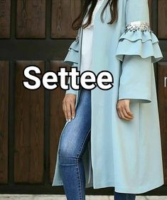 Image may contain: one or more people, people standing and text Abaya Fashion, Muslim Fashion, Vogue Fashion, Suit Fashion, Fashion Outfits, Small Girls Dress, Mode Abaya, Iranian Women Fashion, Sleeves Designs For Dresses