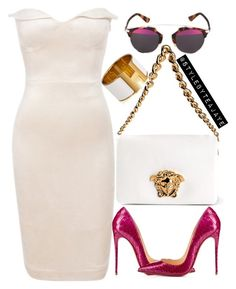 """""""Untitled #1885"""" by stylebyteajaye ❤ liked on Polyvore featuring Versace and Christian Louboutin"""