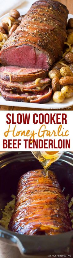 A must-try Slow Cooker Honey Garlic Beef Tenderloin recipe for the holidays. This is the easiest way to prepare a beef tenderloin without overcooking! Pork Recipes, Cooking Recipes, Kabob Recipes, Fondue Recipes, Recipies, Oven Recipes, Beef Tenderloin Recipes, Slow Cooker Beef Tenderloin, Coconut Dessert