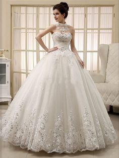 Lace Appliques Pearls Ball Gown #Wedding Dress