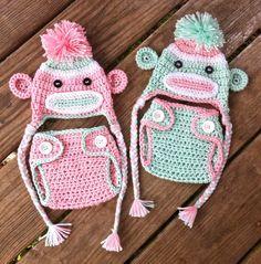 TWIN Newborn Pink n Green Crochet Sock MONKEYS n Matching Diaper COVERS Earflap Hat With Braids  -- Adorable Photo Props