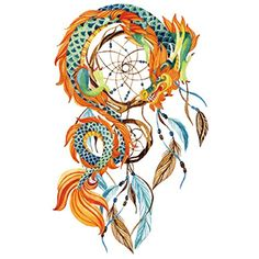 COKOHAPPY Large Temporary Tattoo , Indian Dream-Catcher Feather Dragon >>> More info could be found at the image url. (This is an affiliate link and I receive a commission for the sales) #TemporaryTattoos