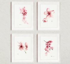 Cherry blossom Flowers Set of 4 Watercolor by ColorWatercolor