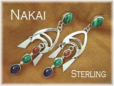 Grace & Gilo Nakai ~ Sterling Native American Gemstone Earrings RARE Early Piece