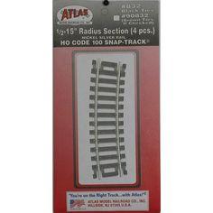 "Atlas #832 Code 100 1/2 15"" Radius Track (4 pcs./pk)  $2.99"
