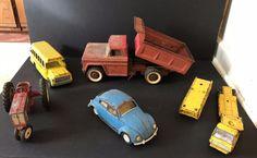 Vintage Toy Metal Car Lot of 7 Tonka Rig Trailer Hubley Bus Structo Dump Truck #Structo