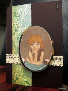 Handmade card with a girl center piece